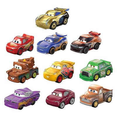 Disney and Pixar Cars Mini Racers Derby Series Kids Compact Character Toy Car Set with Lightning McQueen, Mater, Smokey, and More, 10 Pack