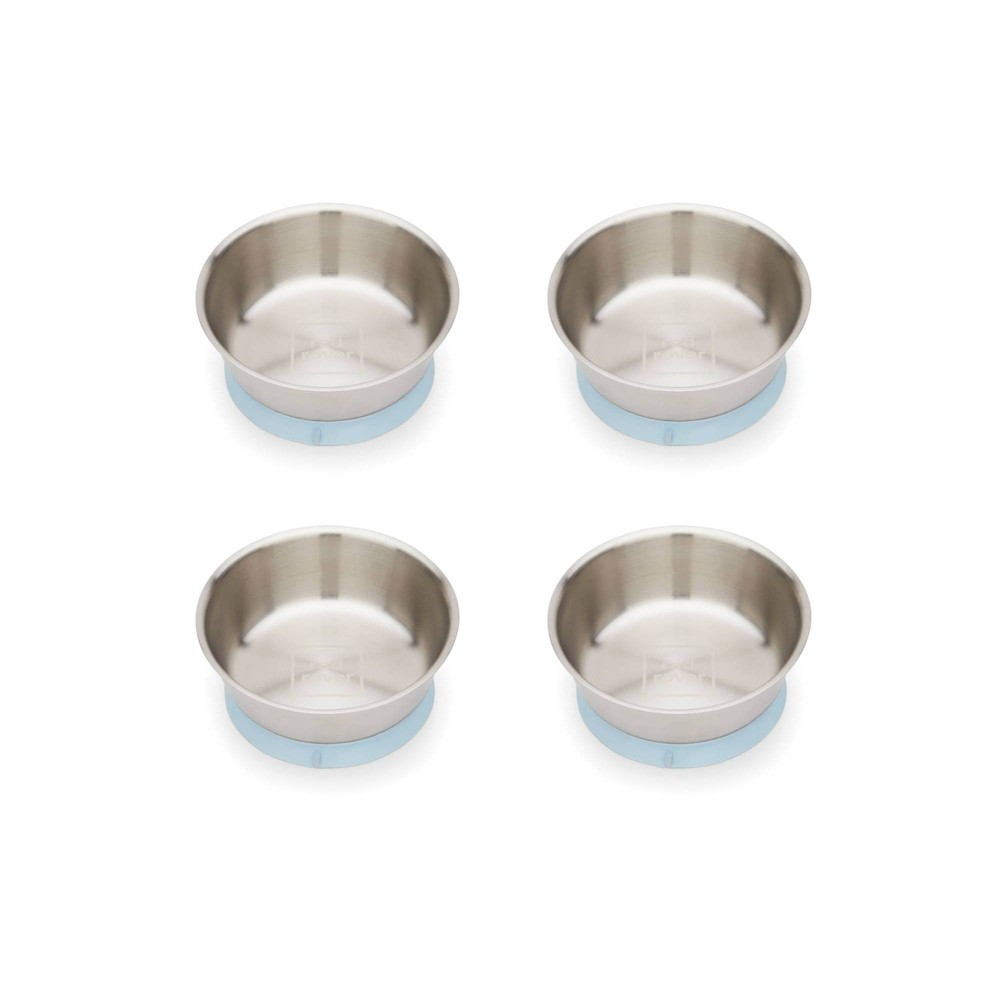 Image of Red Rover 12oz 4pk Stainless Steel Kids Suction Base Dining Bowls Blue