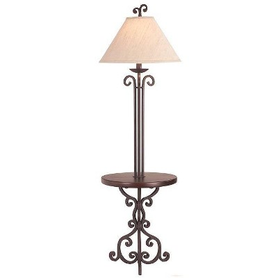 Franklin Iron Works Traditional Floor Lamp with Table Iron Rust Scroll Wooden Off White Flared Bell Shade for Living Room Reading