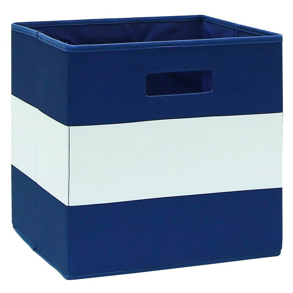 Fabric Cube Toy Storage Bin Navy (Blue) Stripe - Pillowfort The Fabric Cube Storage Bin (13 x13 ) Mint and Cream from Pillowfort offers a stylish storage solution for clothing or small toys. It's perfect for a kids' room, home office, laundry room or craft room. Mix and match colors and prints for a creative look. Color: Navy. Pattern: Stripe.