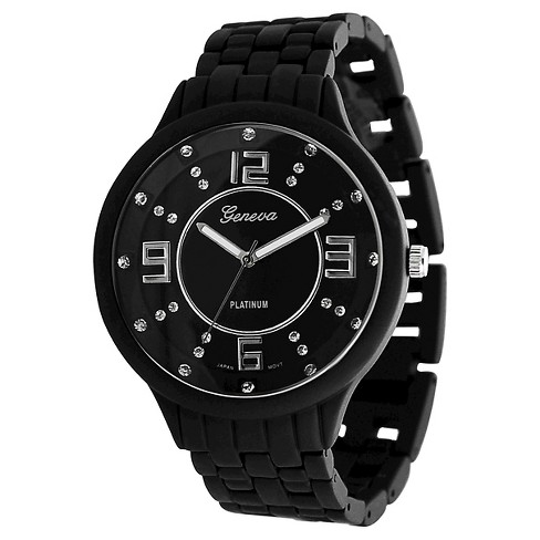 Men's Geneva Platinum Rhinestone Accent Soft-coated Link Watch - image 1 of 1