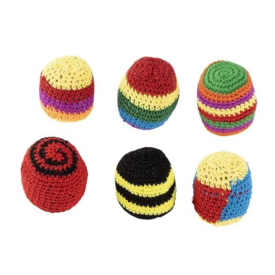 Blue Panda 6 Pack Crochet Knitted Sacks, Footbag Kick Ball, Sports Outdoor Play Toys, Summer Party Supplies
