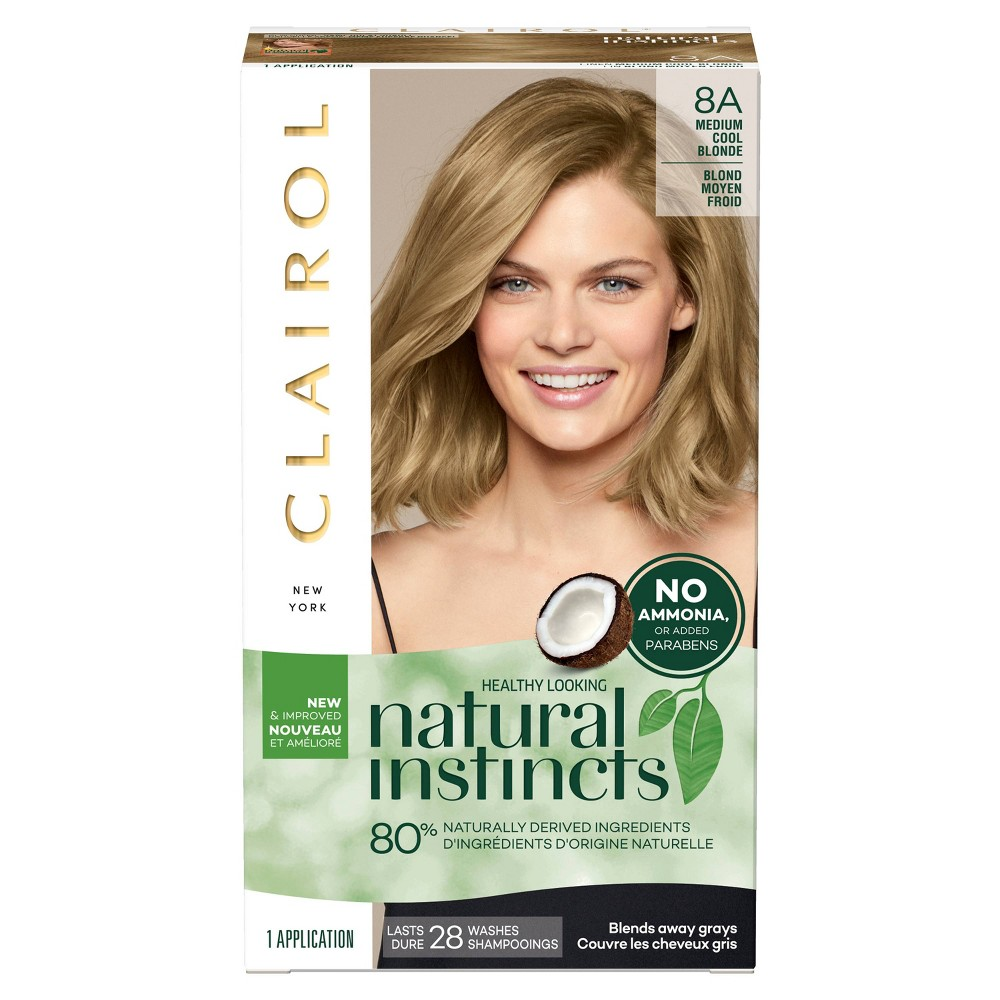 Image of Clairol Natural Instincts Non-Permanent Hair Color - 8A Medium Cool Blonde, Linen - 1 kit, 8A Medium Cool Yellow