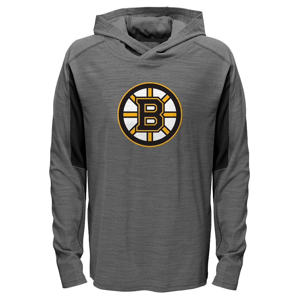Boston Bruins Boys' Rink Rat Gray Lightweight Hoodie M, Multicolored