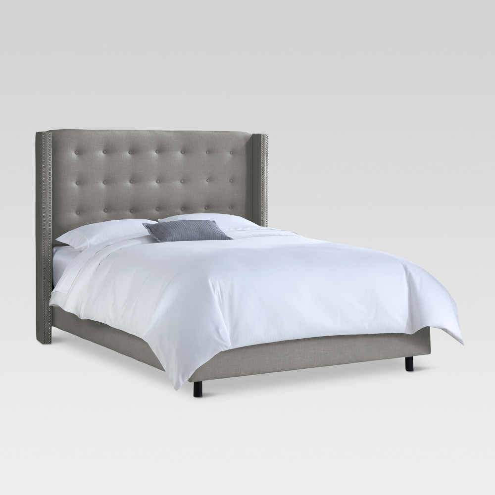 Nail Button Tufted Wingback Bed Gray - Threshold
