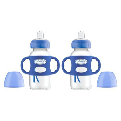 Dr. Brown's Wide-Neck Sippy Bottle with Handles - Blue - 2pk