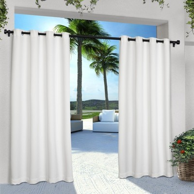 Indoor/Outdoor Solid Cabana Grommet Top Window Curtain Panel Pair White (54 x96 )- Exclusive Home™