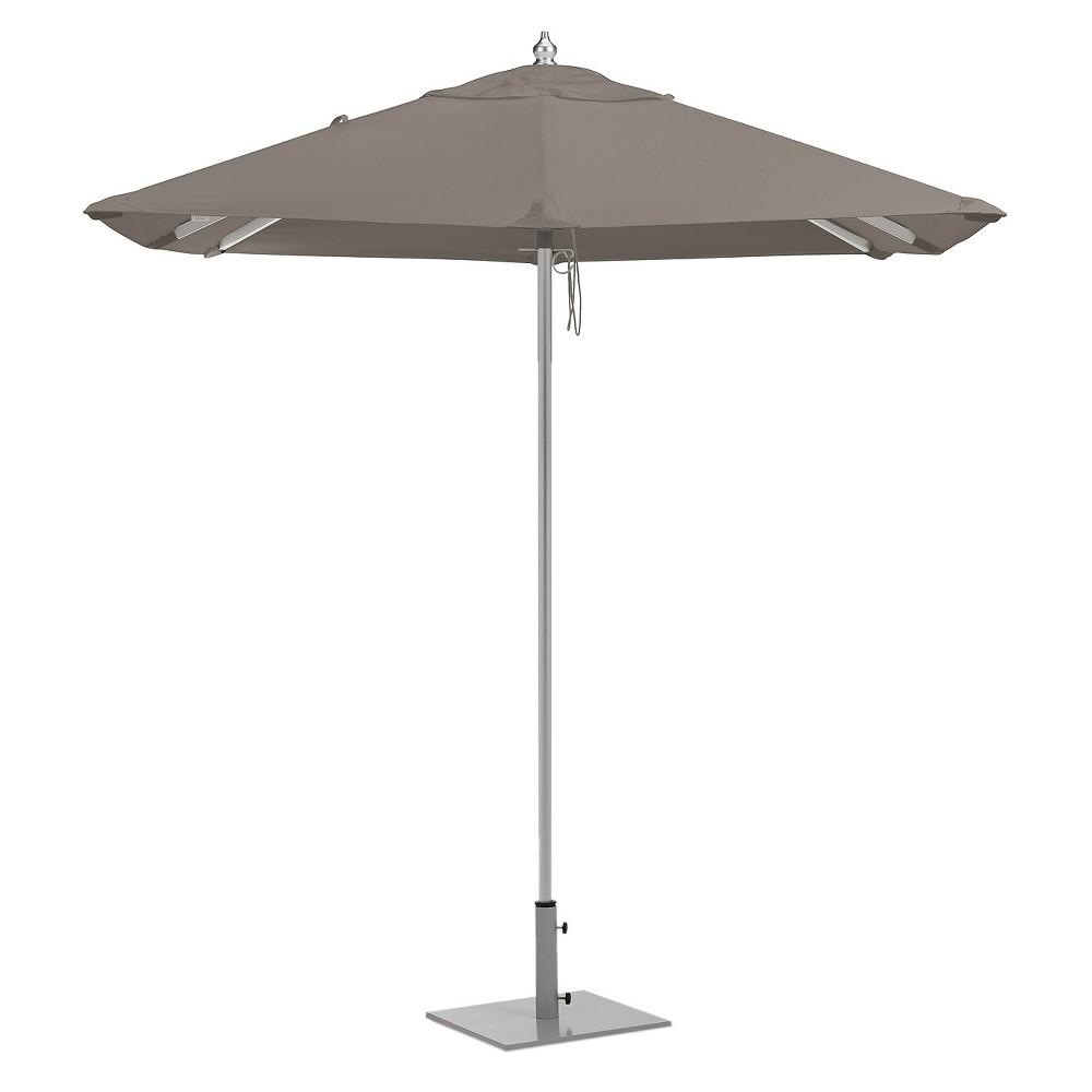 Image of 6.5' Square Sunbrella Market Patio Umbrella - Brushed Aluminum Frame - Taupe Sunbrella Fabric Shade - Oxford Garden