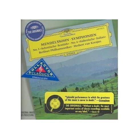 Felix; Berlin Philharmonic Orchestra Mendelssohn - Mendelssohn: Syms 3 & 4 (CD) - image 1 of 1