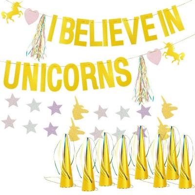 "Blue Panda Gold Unicorn Party Kits - ""I Believe in Unicorns"" Banner String, 12 Hats, 6 Tassels, 1 Star Garland"