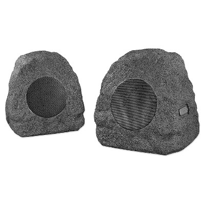 Innovative Technology Rechargeable 5 Watt Bluetooth Outdoor Wireless Rock Speakers, Pair