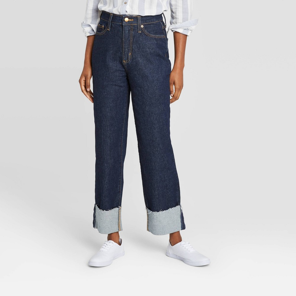 Women 39 S High Rise Vintage Straight Cropped Jeans Universal Thread 8482 Dark Blue 14 Long