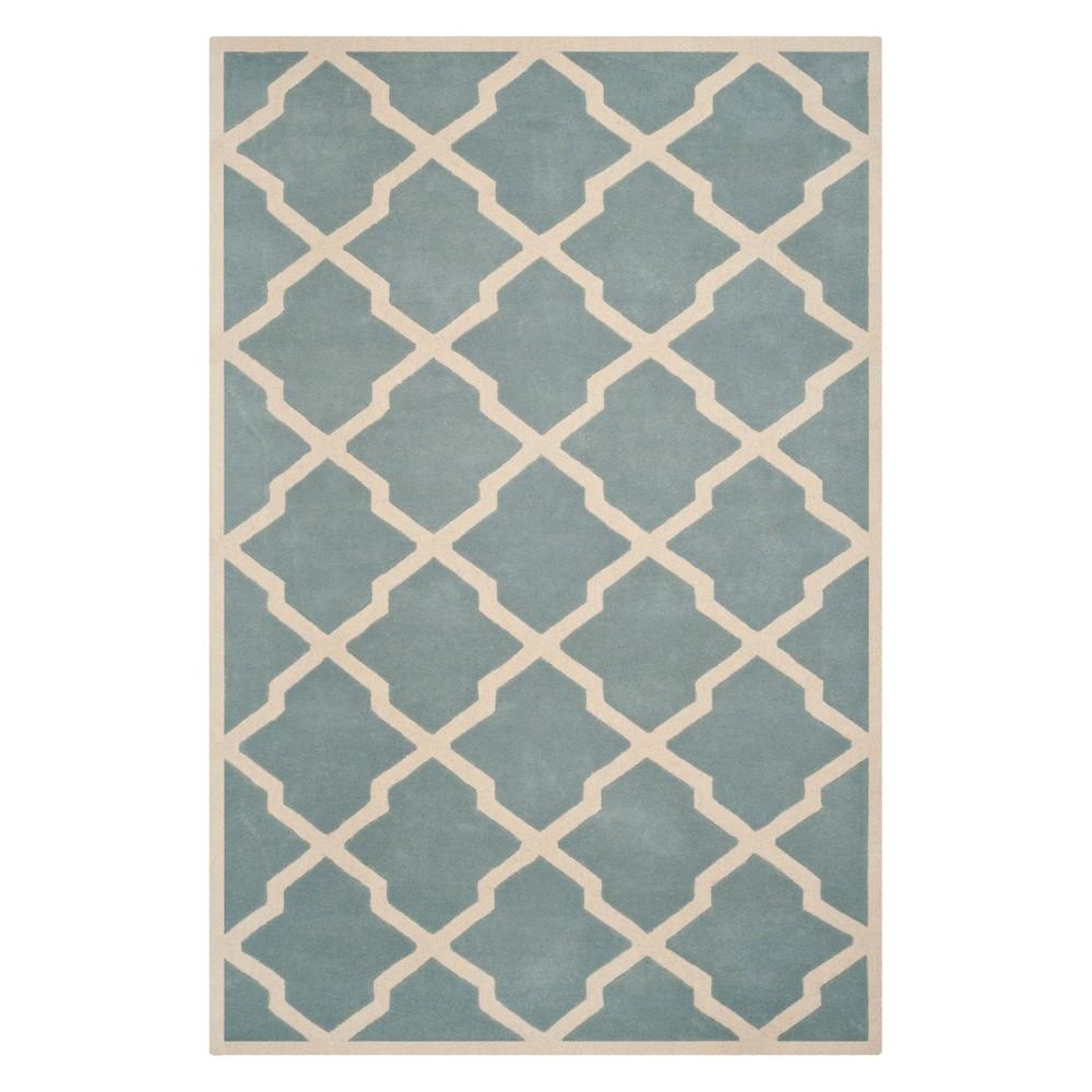 10'X14' Quatrefoil Design Tufted Area Rug Blue/Ivory - Safavieh Product Image