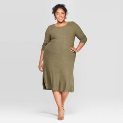 Women's Plus Size Long Sleeve Scoop Neck Rib-Knit Dress - Ava & Viv™