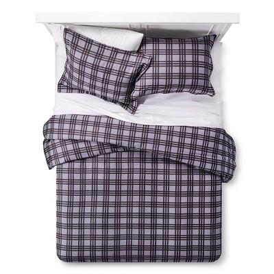 Plaid 100% Cotton Flannel Duvet Cover Set (King)3pc - Dark Gray