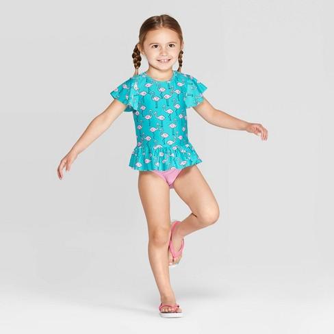 aaf89b2411585 Toddler Girls' Short Sleeve Flamingo Rash Guard Set - Cat & Jack™ Aqua.  Shop all Cat & Jack