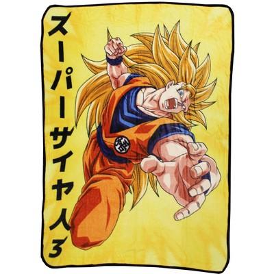 Just Funky Dragon Ball Z Goku Super Saiyan 3 Japanese Fleece Throw Blanket