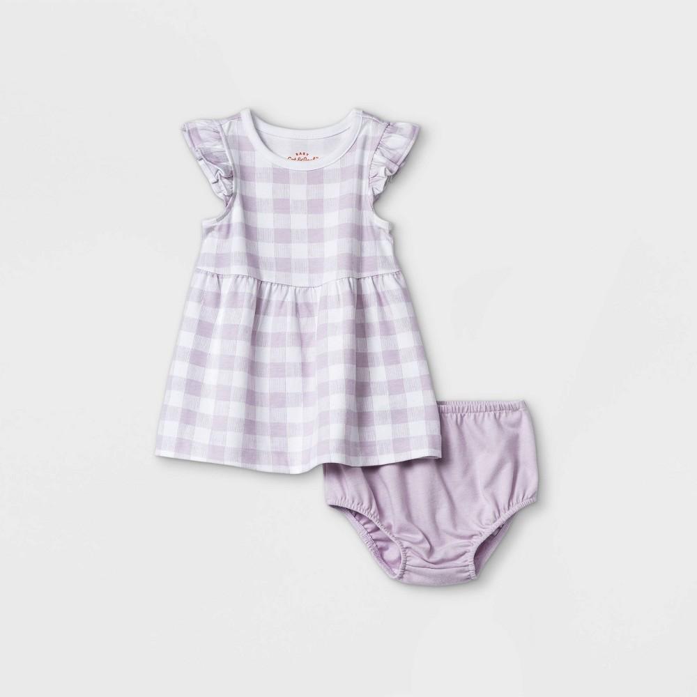 Baby Girls 39 Gingham Ruffle Sleeve Dress With Panty Cat 38 Jack 8482 Light Purple 3 6m