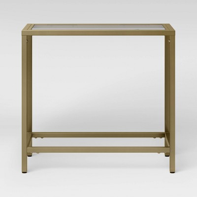 Greenwich Rectangle Glass Top Chairside End Table with Brass Base - Threshold™