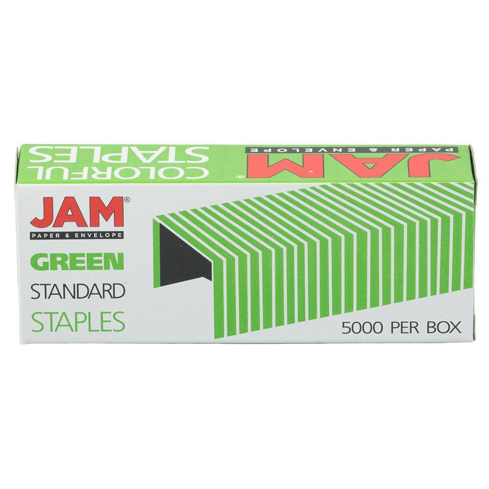 Jam Paper 5000ct Standard Size Colorful Staples Emerald Green
