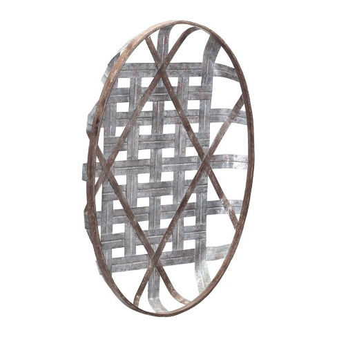 "ZM Home 24"" Oval Basketweave Wall Sculpture Gray - image 1 of 4"