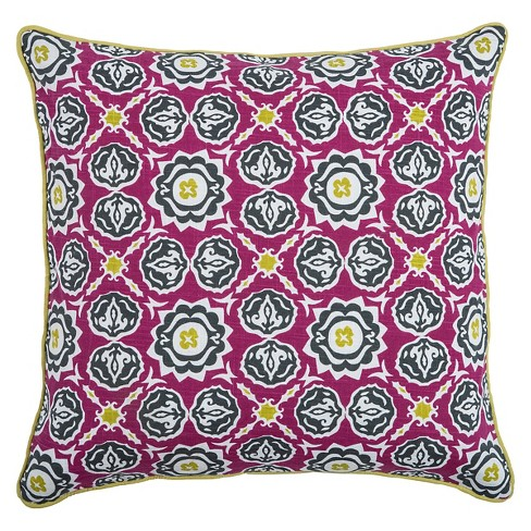 "Pink/Green Laura Fair Throw Pillow 20""x20"" - Rizzy Home® - image 1 of 1"