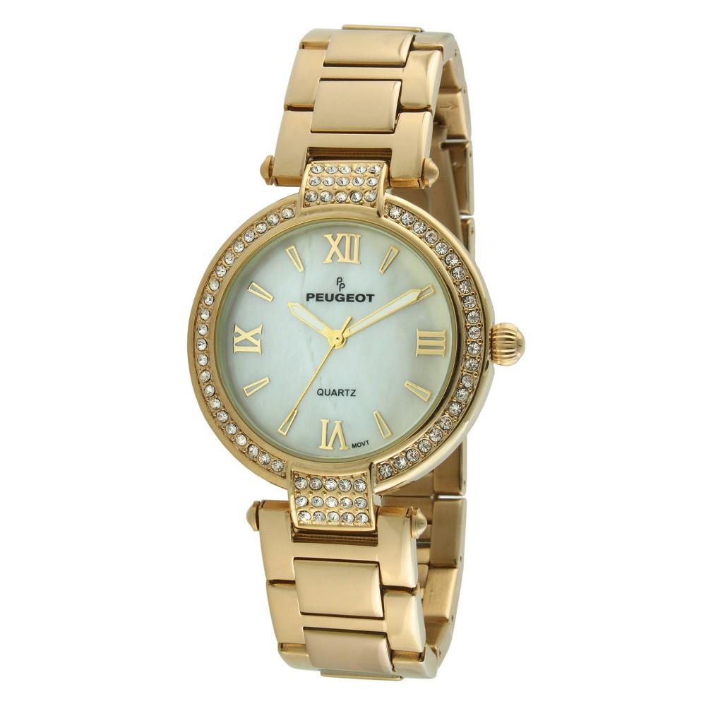 Peugeot Women's Gold Tone Crystal Bezel Watch, Size: Small