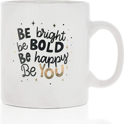 Okuna Outpost White Large Ceramic Coffee Mug Tea Cup, Be Bright, Be Bold, Be Happy, Be You (White, 16 oz)