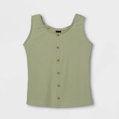 Girls' Rib-Knit Button-Front Lace Trim Tank Top - art class™