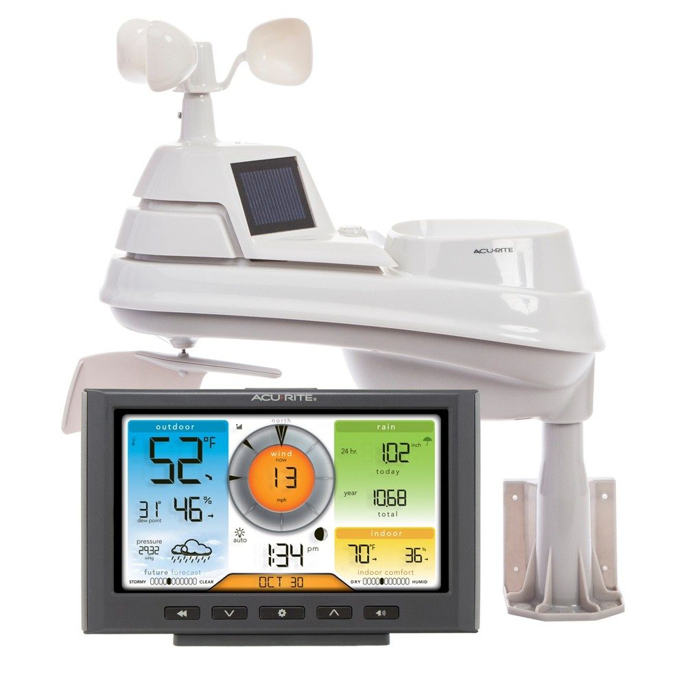 5 in 1 Weather Station with Wi-Fi Connection to 'Weather Underground' - AcuRite, Multi-Colored Easy-to-read, color display looks attractive for any room and the vertical design uses minimum counter space for convenient placement. The enhanced Wi-Fi connectable option that enables your station to transmit its data wirelessly to the world's largest personal weather station Network, Weather Underground. Weather station measures temperature, humidity, wind speed, wind direction and rainfall. Color: Multi-Colored.
