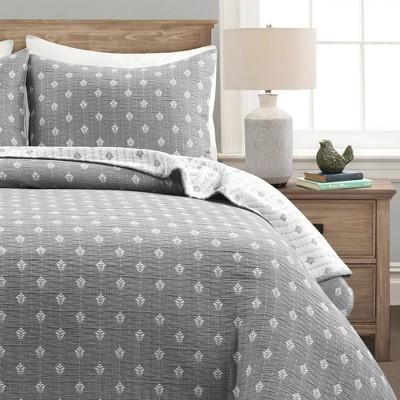 3pc King Hygge Kantha Pick Stitch Yarn Dyed Cotton Jacquard Quilt Set Gray/Off-White - Lush Décor