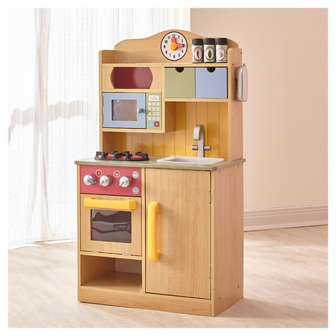 Teamson Kids Little Chef Wooden Toy Play Kitchen Burlywood