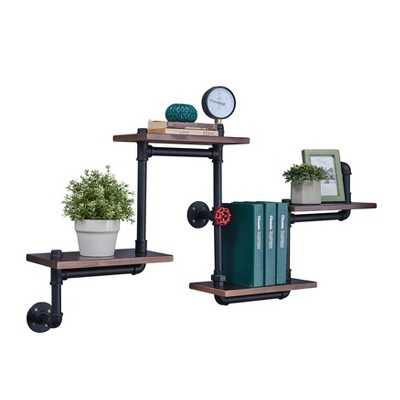 44.5  x 27.6  Tiered Horizontal Industrial Pipe Wall Shelf Brown/Black - Danya B.