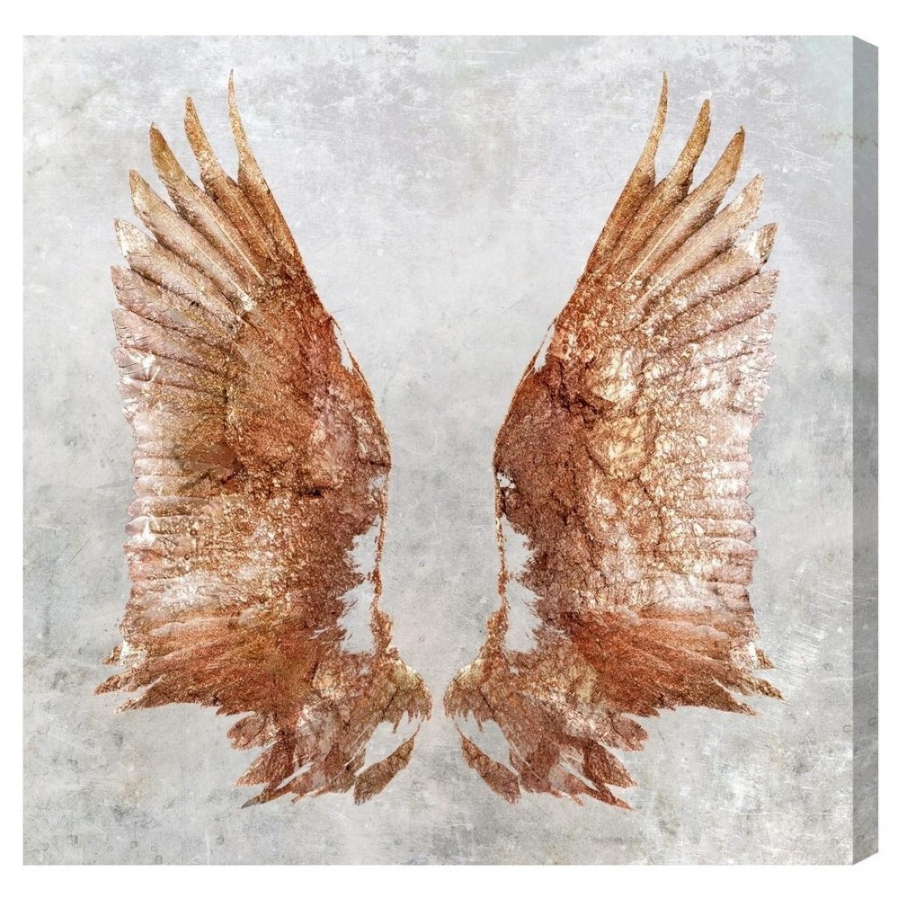 """Image of """"Oliver Gal Unframed Wall """"""""Rose Gold Wings"""""""" Canvas Art (20x20)"""""""