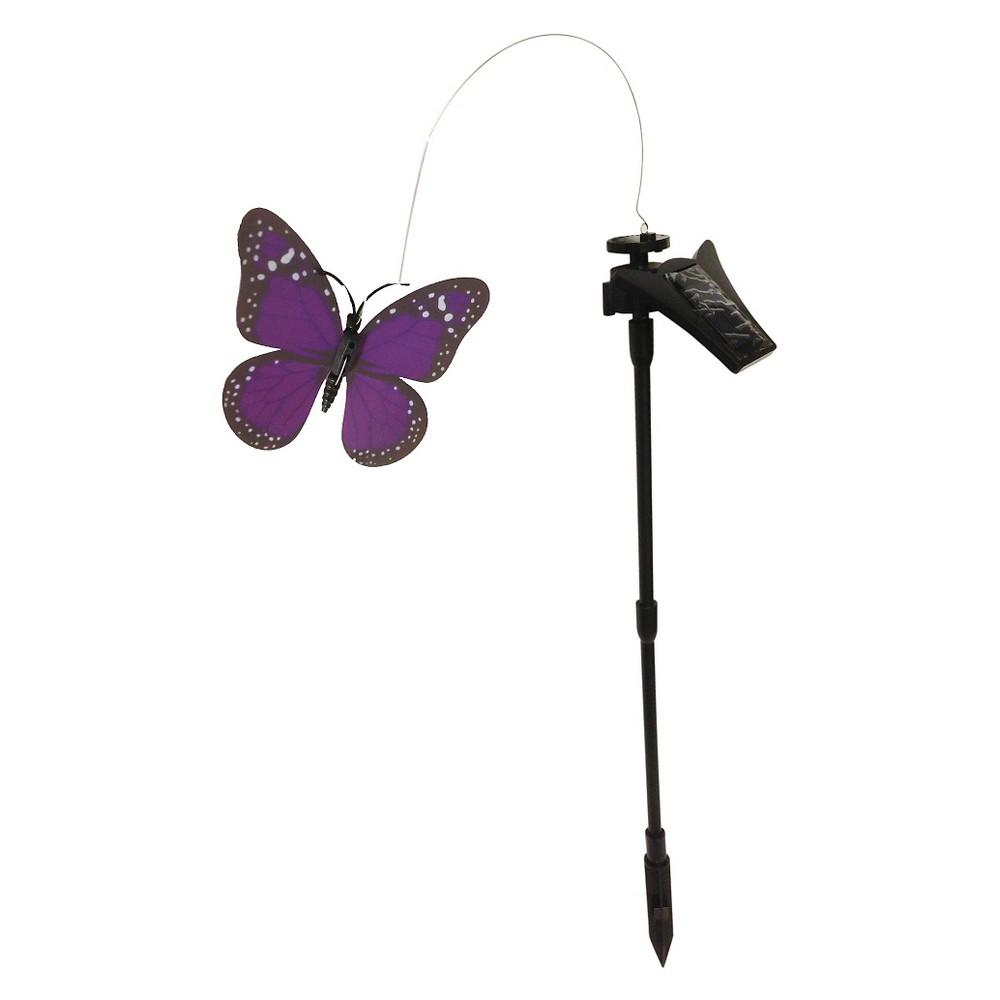 "Image of ""Creative Motion - Solar Led Powered Purple Butterfly Light - Black (1.57""""x4.72""""), Purple/Black"""
