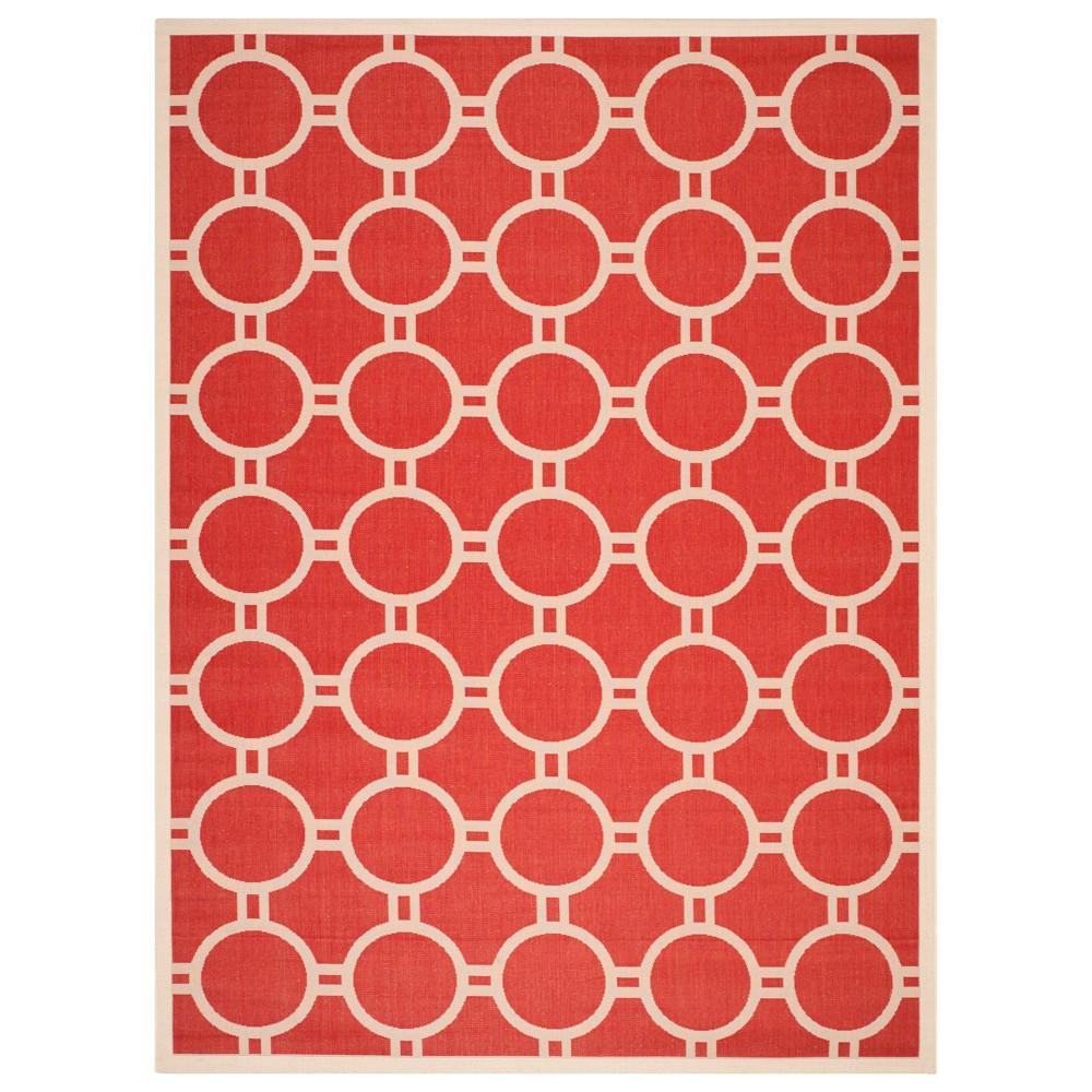 9' x 12' Nordmand Outdoor Rug Red/Bone - Safavieh, Off-White Red