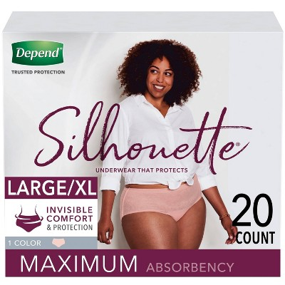 Depend Silhouette Incontinence Underwear for Women - Maximum Absorbency - Large/Extra-Large - Pink - 20ct