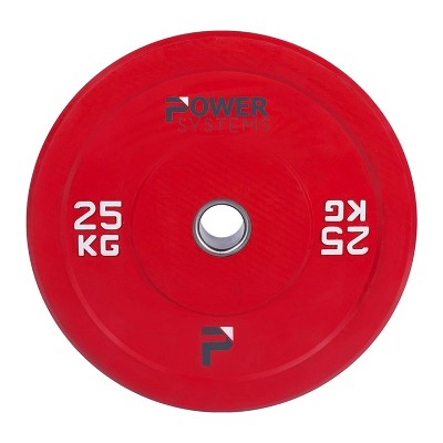 Power Systems 55898 25 Kilogram Sound Dampening Shock Absorbing Rubber Olympic Bumper Plate Barbell Weight for Strength Training, Red