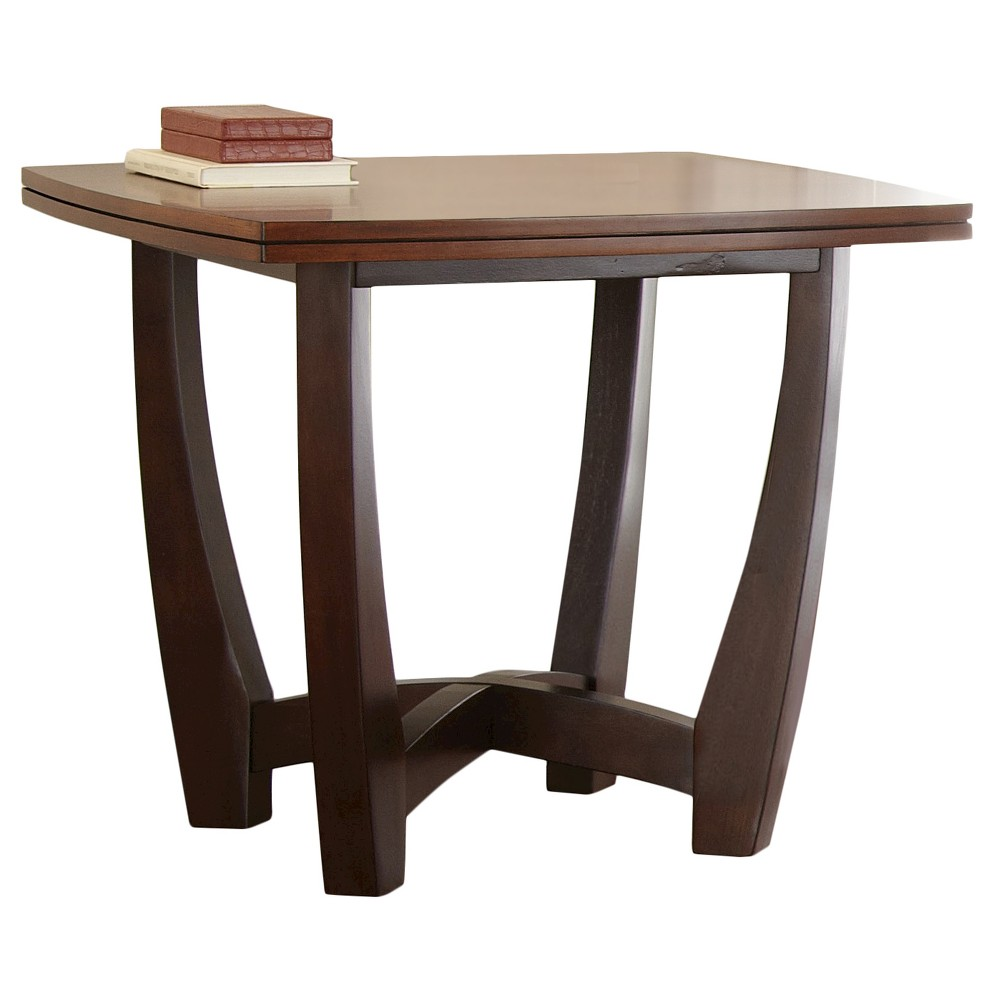Kenzo End Table Two Tone - Steve Silver Contemporary style meets functionality with this Kathleen Light Cherry End Table from Steve Silver Co. This hardwood end table has slightly curved wood legs with an  x  support across the bottom for a stable and sturdy design. It has a cherry wood top that's perfect for displaying decor next to a couch, armchair or in any living space in your home with a sleek and simple design. Color: Brown.