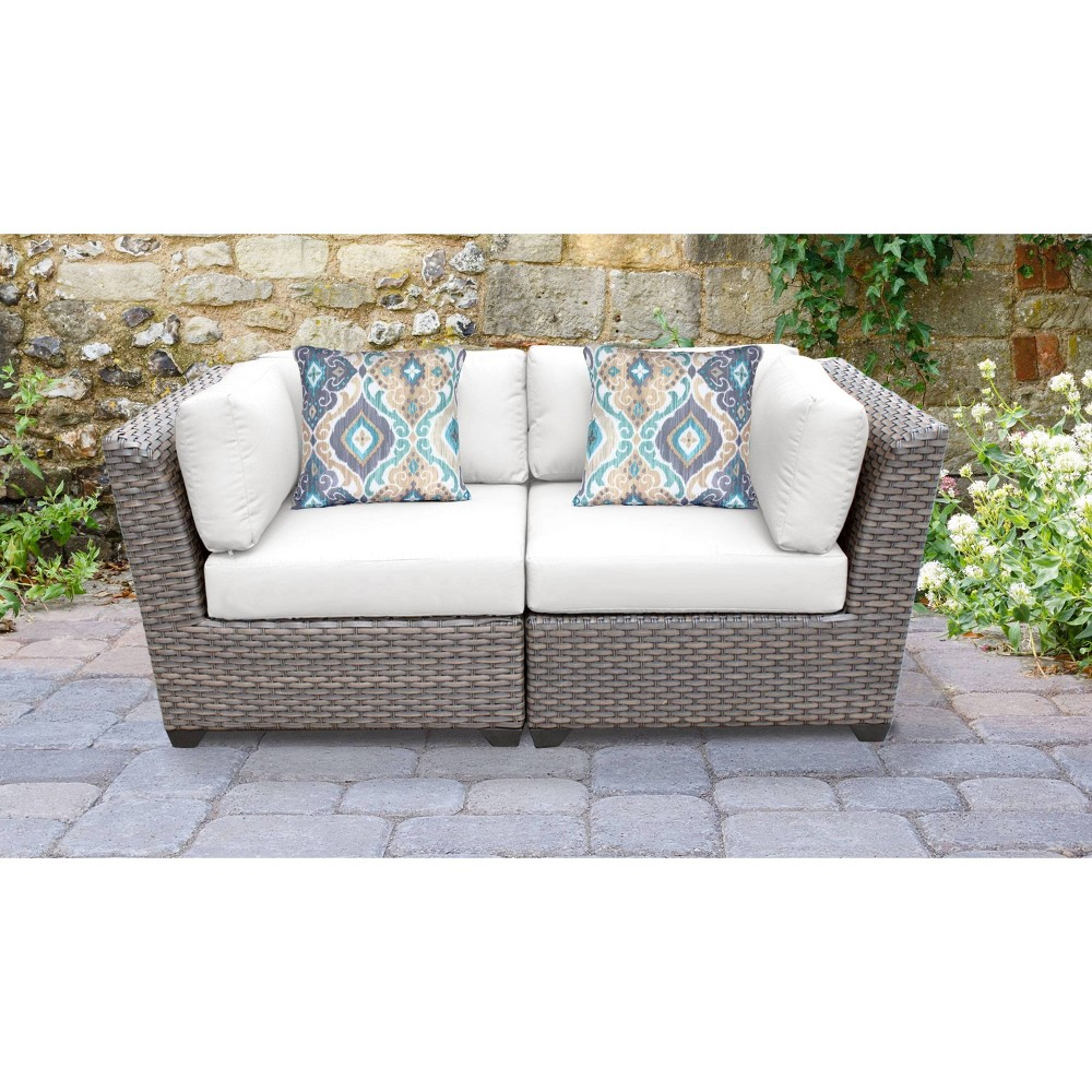 Florence 2pc Outdoor Sectional Loveseat With Cushions White Tk Classics