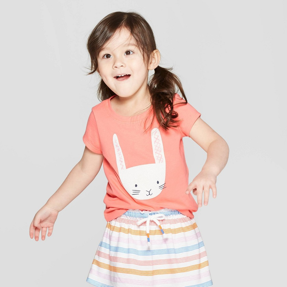 Toddler Girls' Short Sleeve 'Bunny' Graphic T-Shirt - Cat & Jack Peach 12M, Pink