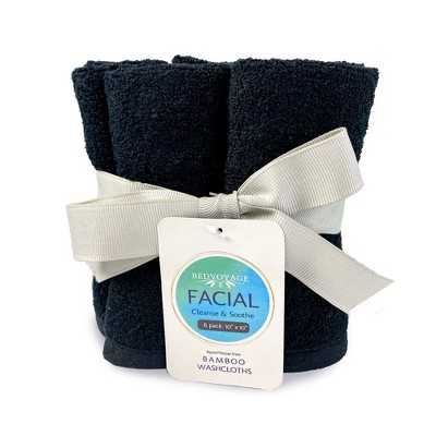 6pc Rayon from Bamboo Day and Night Facial Washcloth Set Black - BedVoyage