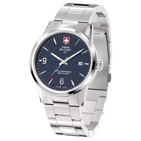Men's Swiss Military by Charmex Officer silver tone steel band watch - Silver - image 1 of 2