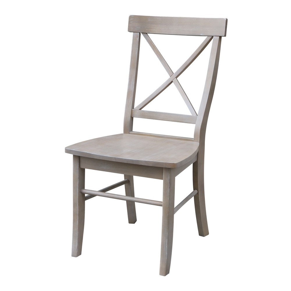 X Back Dining Chair with Solid Wood Seat Washed Gray Taupe (Set of 2) - International Concepts