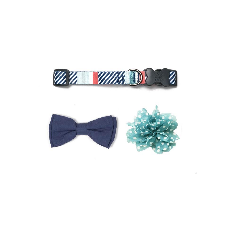 Bow & Arrow Stripe Dog Collar with Bow Tie & Flower - Mint (Green) - S