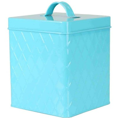 Home Basics Large Tin Canister, Turquoise