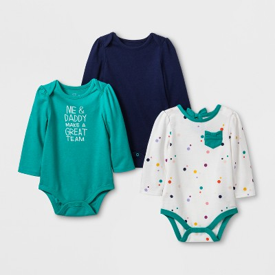 Baby Girls' 3pk Long Sleeve Bodysuit Set - Cat & Jack™ Green/Cream 3-6M