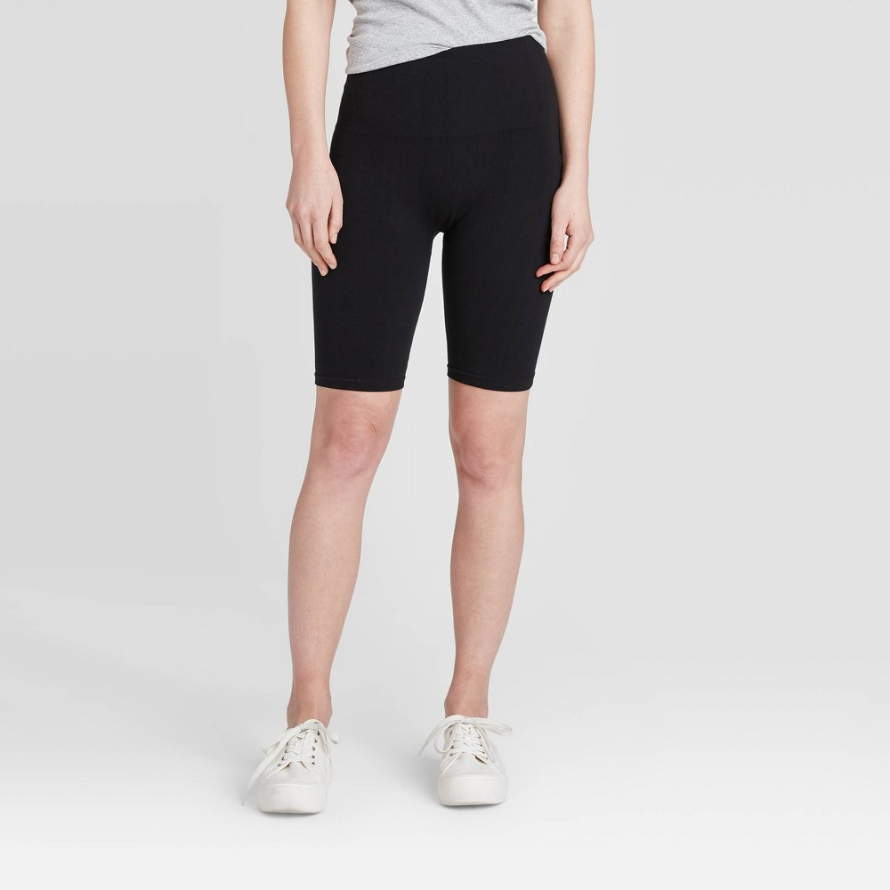 "Image of ""Women's High Waist Cotton Seamless 7"""" Inseam Bike Shorts - A New Day Black L/XL, Women's, Size: Large/XL"""