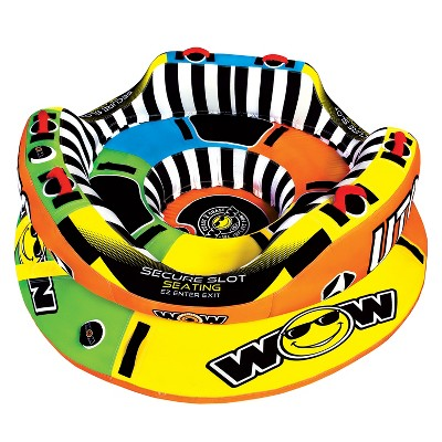 WOW Watersports 1-3 Rider UTO Excalibur Boating Lake Towable with Secure Cockpit Seating and Hover Bottom Design