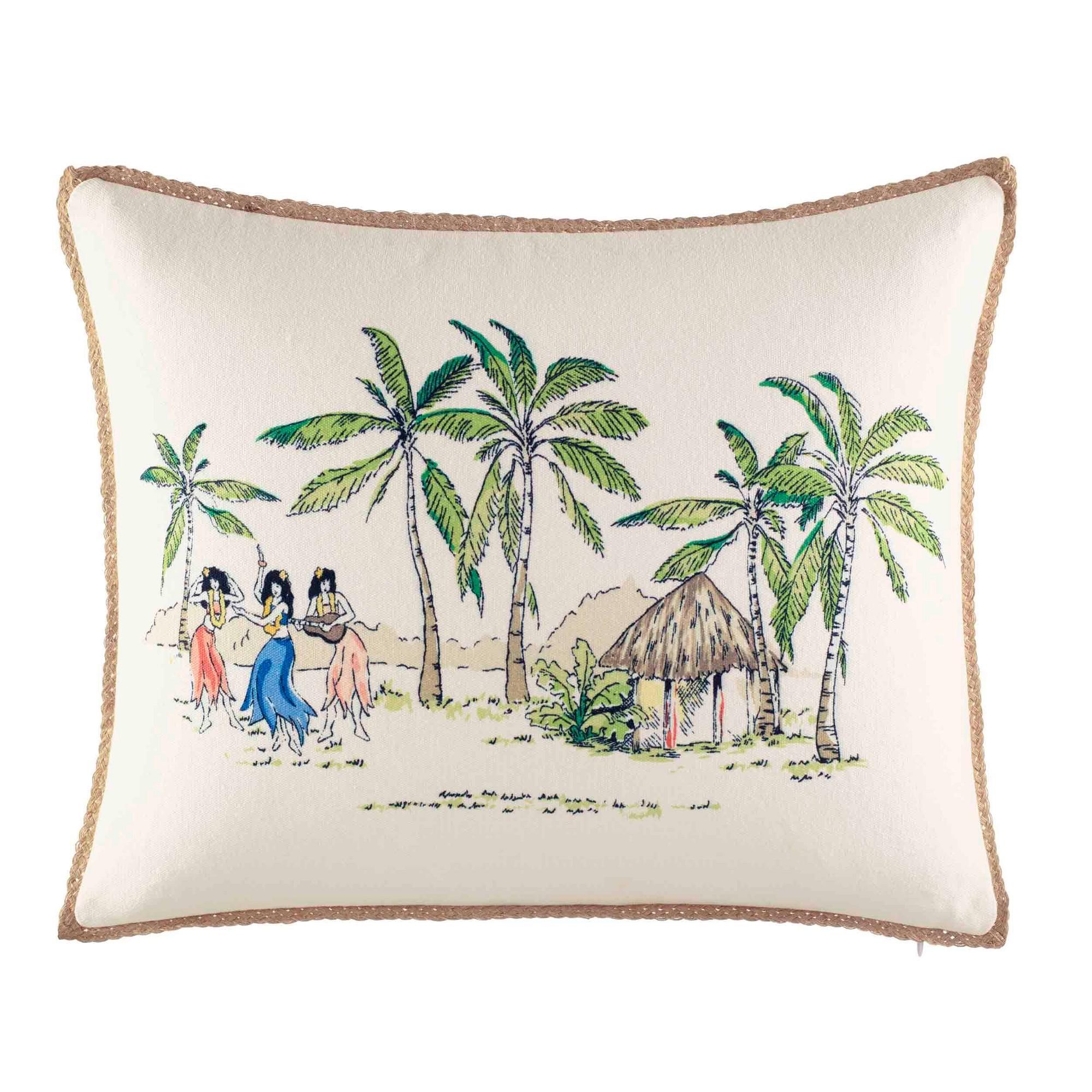 On The Beach Throw Pillow - Nine Palms, Green